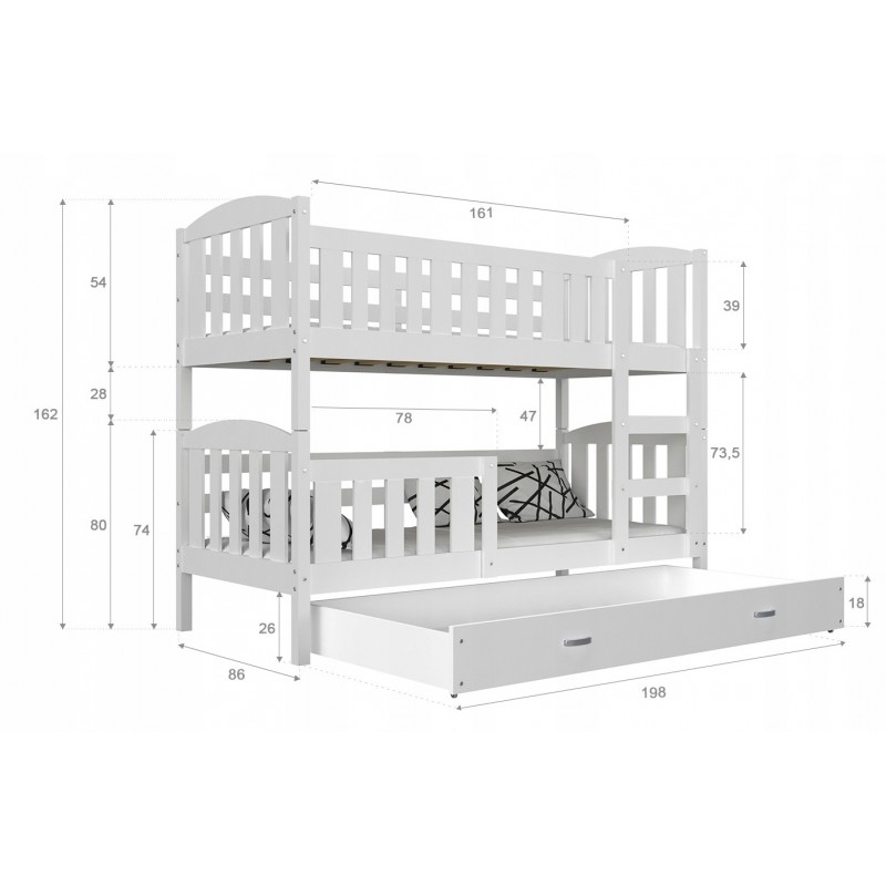 f531900a503861 Lit superposé en bois massif Jacob 2 avec tiroir 190x80 cm Lits sup...