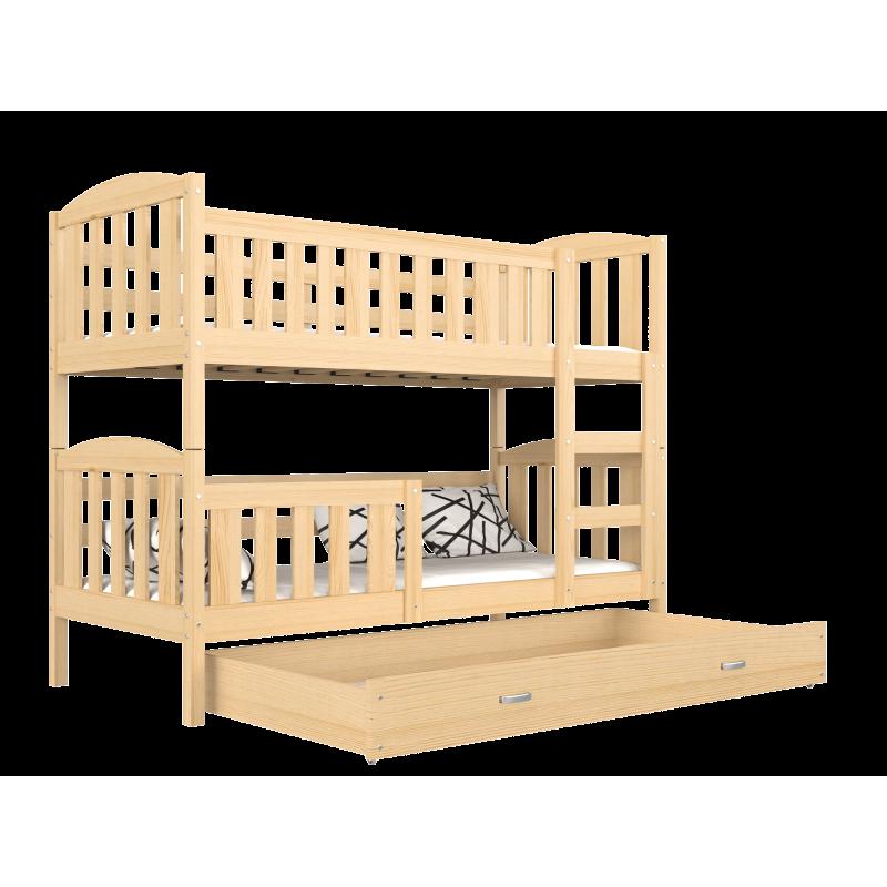 4f8c1274da63d6 Lit superposé en bois massif Jacob 2 avec tiroir 160x80 cm Lits sup...