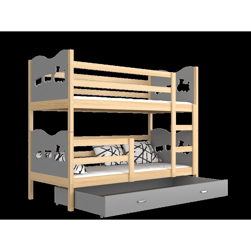 lit superpos en bois massif 190x80 cm train papillons coeurs lits. Black Bedroom Furniture Sets. Home Design Ideas