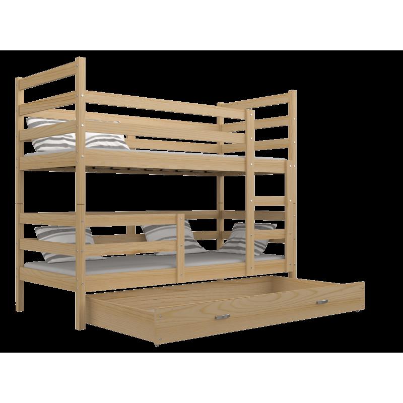 lit superpos en bois massif jack avec tiroir 190x80 cm lits superp. Black Bedroom Furniture Sets. Home Design Ideas