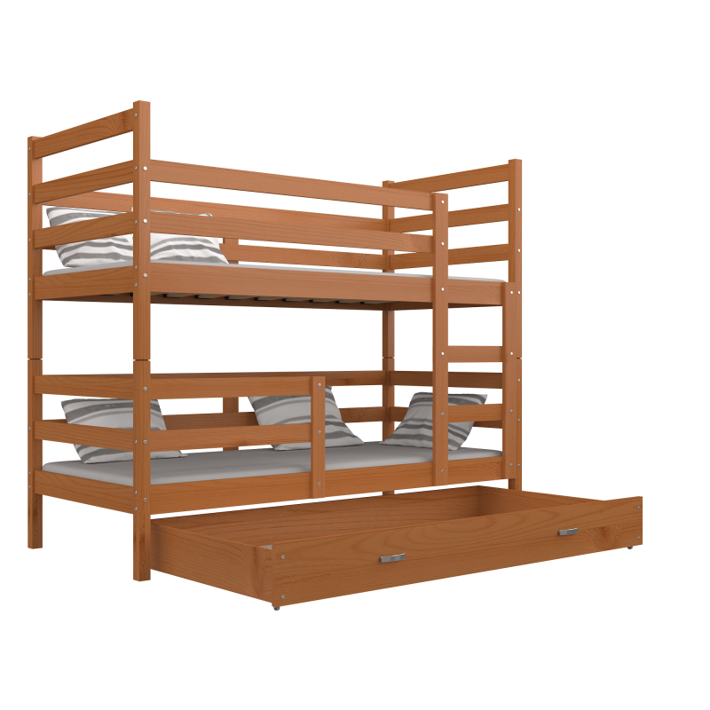 lit superpos en bois massif jack avec tiroir 190x80 cm lits superp. Black Bedroom Furniture Sets. Home Design Ideas