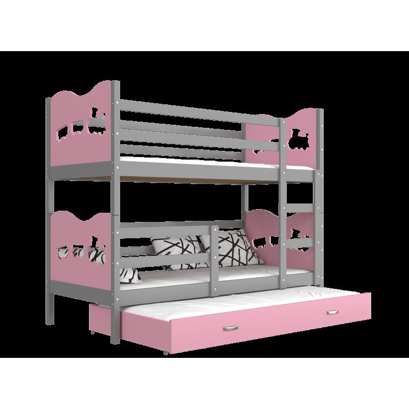 lit superpos avec lit gigogne 190x80 cm train papillons coeurs lit. Black Bedroom Furniture Sets. Home Design Ideas