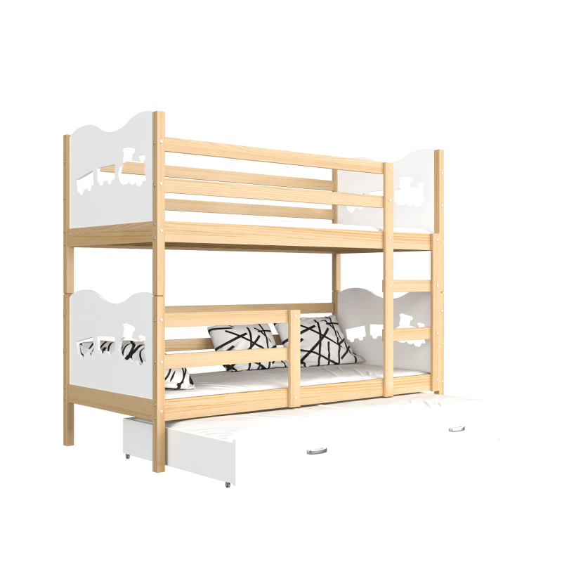 lit superpos avec lit gigogne 190x80 cm train papillons coeurs lit. Black Bedroom Furniture Sets. Home Design Ideas
