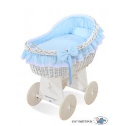 Berceau bébé osier Carine - Bleu-blanc