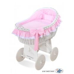 Berceau bébé osier Carine - Rose-blanc