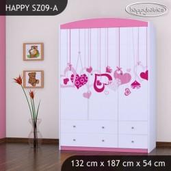 Armoire Happy Collection avec tiroirs étagères et barre