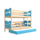 Lit superposé avec lit gigogne avec matelas et tiroir Solid pine wood roll-out bunk bed for 3 persons with mattresses and drawer