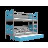 Lit superposé avec lit gigogne avec matelas et tiroir 200x90 cm