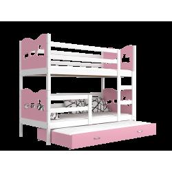 Lit superposé avec lit gigogne 200x90 cm Train Papillons Coeurs