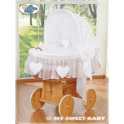 Berceau bébé osier Coeurs - Blanc
