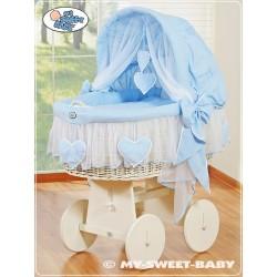 Berceau bébé osier Coeurs - Bleu-Blanc