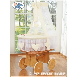 Berceau bébé Coeurs osier - Crème