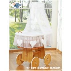 Berceau bébé Coeurs osier - Blanc