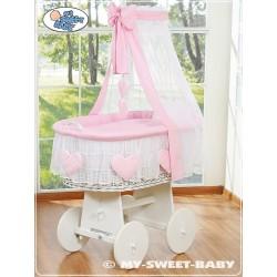 Berceau bébé osier Coeurs - Rose-Blanc