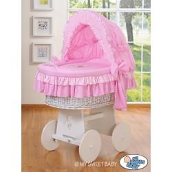 Berceau bébé osier Teddy - Rose-blanc