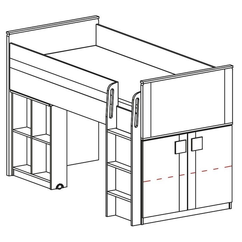 lit mezzanine sur lev combin avec bureau et commode bfunky 200x90. Black Bedroom Furniture Sets. Home Design Ideas