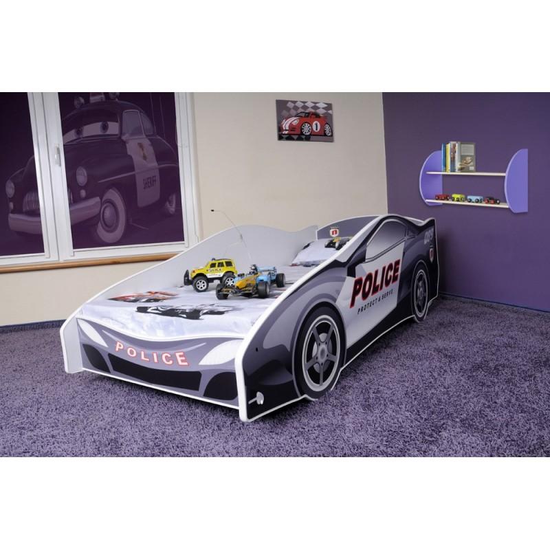 lit voiture de police avec matelas 180x80 lits en forme de voitures. Black Bedroom Furniture Sets. Home Design Ideas