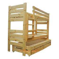 Lit superposé avec lit gigogne Gustavo 3 avec matelas et tiroirs 160x80 cm
