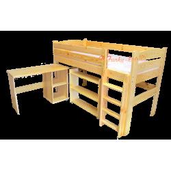 Lit mezzanine surélevé combiné avec bureau et commode Bella 200x90 cm