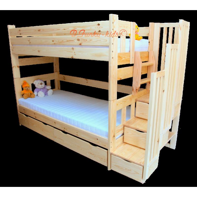 lit superpos avec escalier rangement enrique 200x90 cm lits superp. Black Bedroom Furniture Sets. Home Design Ideas