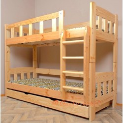 Lit superposé en bois massif Inez avec tiroir 180x90 cm