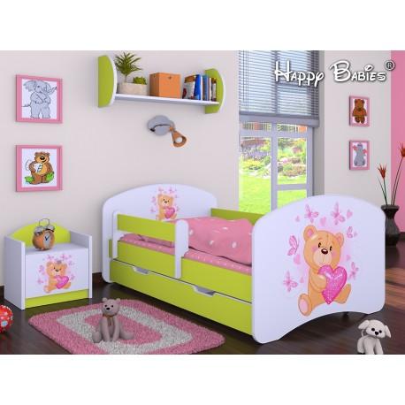 lit enfant happy vert collection avec tiroir et matelas 140x70 cm - Lit Enfant Avec Tiroir