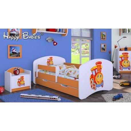 lit enfant happy orange collection avec tiroir et matelas 140x70 cm - Lit Enfant Avec Tiroir