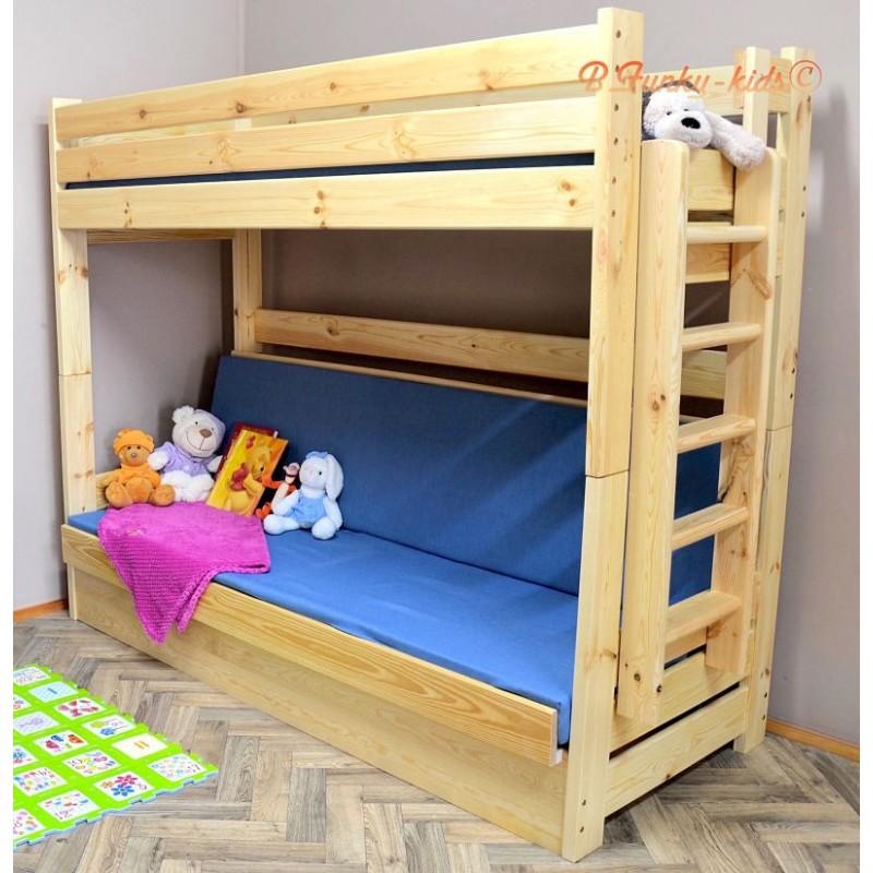 lit superpos en bois massif carlos avec matelas 180x80 et 180x110. Black Bedroom Furniture Sets. Home Design Ideas