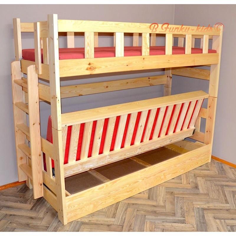lit superpos en bois massif fabio avec matelas 180x80 et 180x110 c. Black Bedroom Furniture Sets. Home Design Ideas