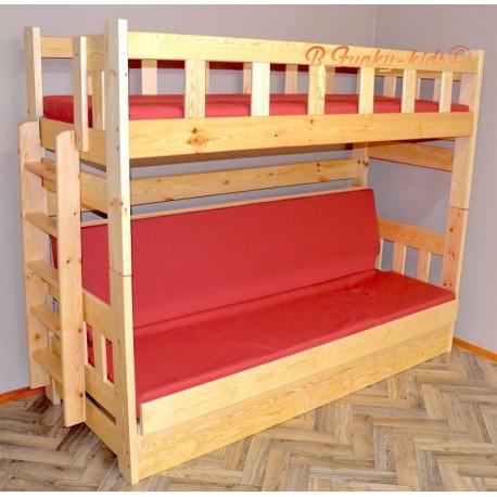 Lit superposé en bois massif Fabio avec matelas 180x80 et 180x110 cm