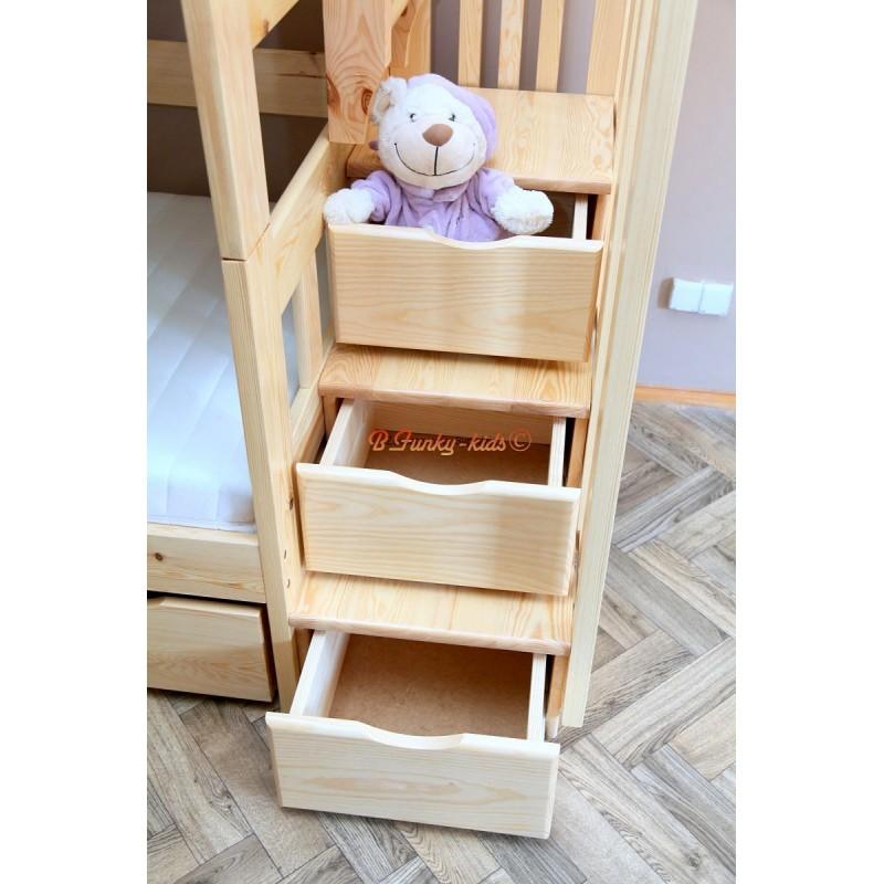 lit superpos avec escalier rangement enrique 200x90 cm - Lit Superpose Avec Rangement