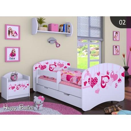 lit enfant filles collection de dessins avec tiroir et matelas 140x70 cm - Lit Enfant Fille