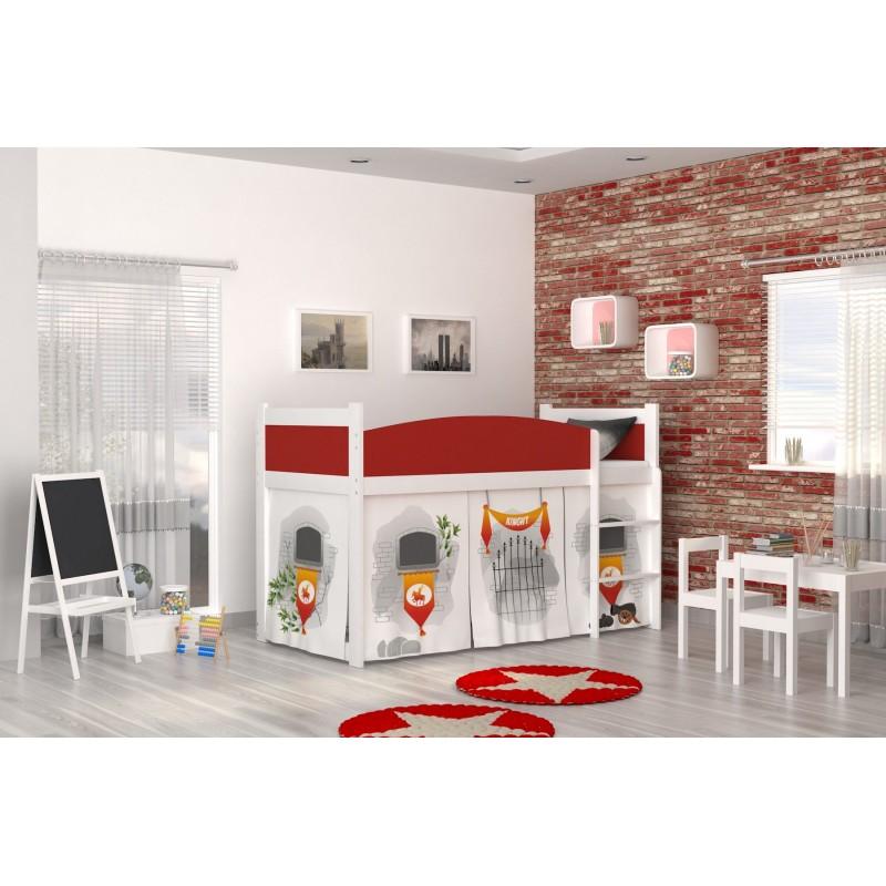 Lit mezzanine sur lev ch teau avec matelas et rideau lits - Rideau pour lit sureleve ...