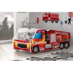 Lit camion Pompier avec matelas 140x70 cm