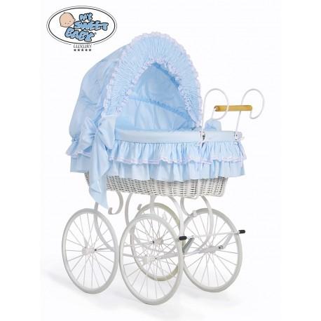 Berceau bébé Vintage Rétro osier - Bleu-Blanc