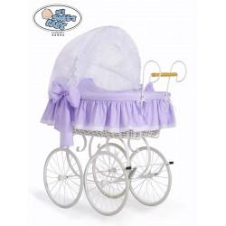 Berceau bébé Vintage Rétro osier - Blanc-Lilas