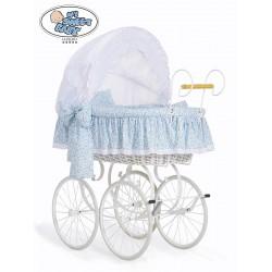 Berceau bébé Vintage Rétro osier - Blanc-Bleue