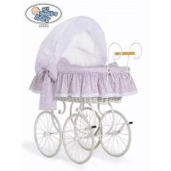 Berceau bébé Vintage Rétro osier - Blanc-Rose