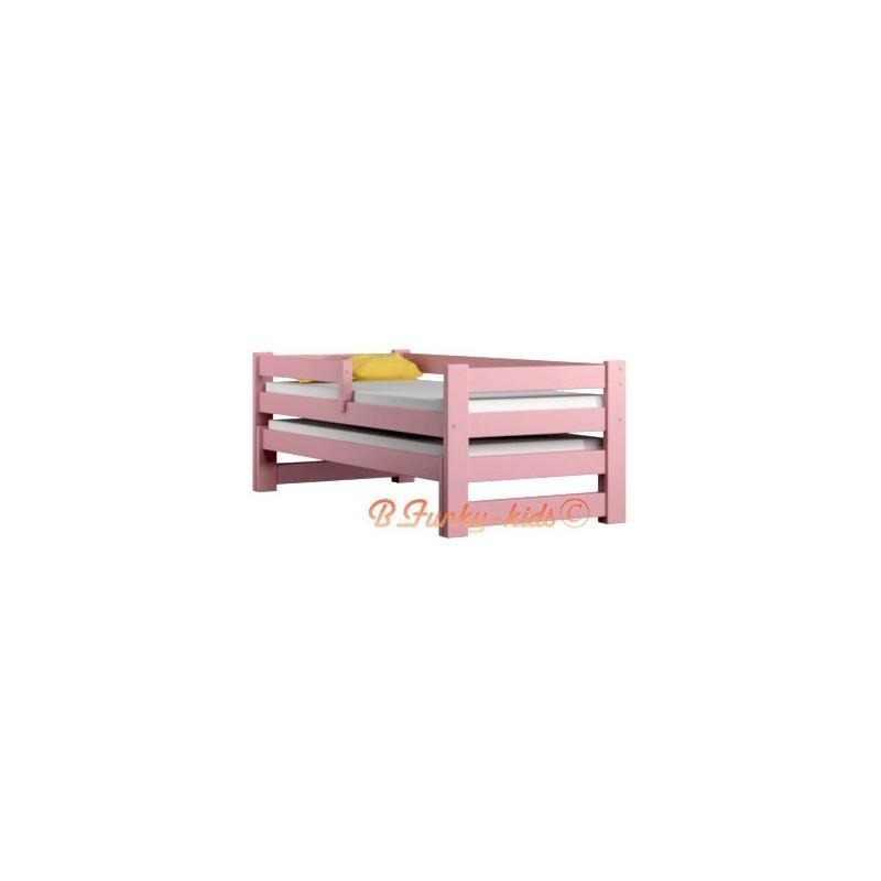 lit gigogne en bois massif avec tiroir et matelas pablo 160x70 cm l. Black Bedroom Furniture Sets. Home Design Ideas
