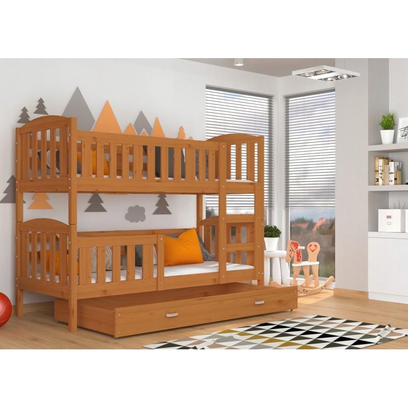 lit superpos en bois massif jacob 2 avec tiroir 190x80 cm lits sup. Black Bedroom Furniture Sets. Home Design Ideas