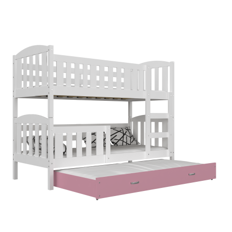 Lit superposé avec lit gigogne Jacob 3 190x80 cm